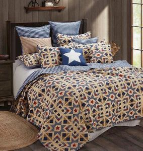 Stars & Plaid Irish Cream King Quilt Ensemble