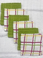 Summertime Multi Check  Cotton Dish Cloths