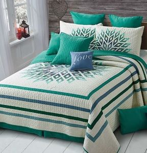 Sunrise Teal Full/Queen  Quilt Ensemble