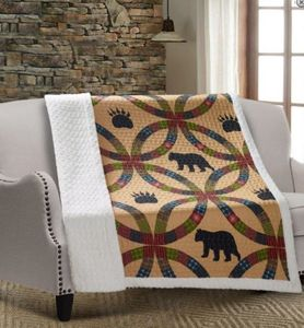 Wedding Ring Bear Quilted Sherpa Throw
