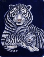 White Tiger with Cub Heavy Weight Luxury Blanket