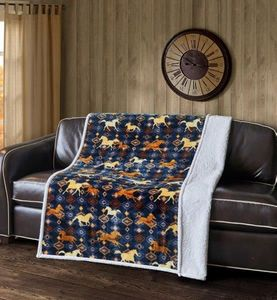 Wild & Free Horses Flannel Sherpa Throw (Navy)