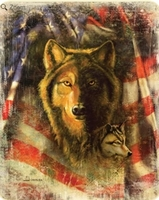 Wolf & Flag Luxury Blanket