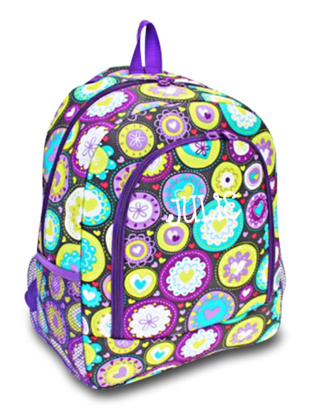Purple Floral Backpack Back to School Personalized Monogrammed Full Size Girl/'s Women/'s Floral School Book Bag Backpack