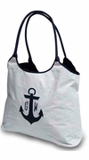 Beach Tote with Anchor|Embroidered