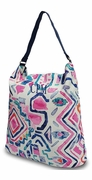 Canvas Beach Tote - Aztec Pattern