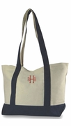 Canvas Boat Shoulder Tote Bag|Monogram|Personalized