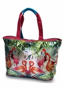 Canvas Flamingo Beach Tote|Personalized