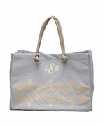 Cotton Jute Pattern Tote Bag|Personalized