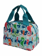 Cute Embroidered Lunch Tote Bag - Seahorse