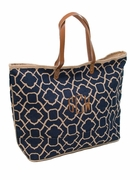 Eco-Friendly Jute Tote|Monogram|Lattice Pattern