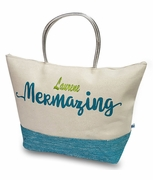 Embroidered Color Block Mermaid Tote Bag