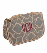 Embroidered Jute Cosmetic Bag|Monogrammed