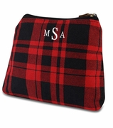 Embroidered Plaid Accessory Bag|Monogram
