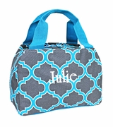 Embroidered Quatrefoil Lunch Bag