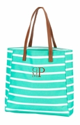 Embroidered Tote Bag - Stripe - Mint|Pink