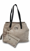 Faux Leather Tote Bag & Accessory Pouch|Monogram|2 colors