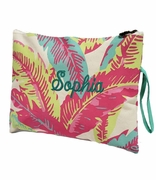 Floral Palm Pattern Cosmetic Bag|Monogrammed