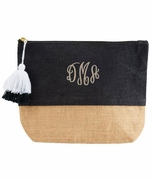 Girls Jute Cosmetic Case|Black|Monogram