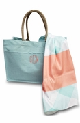 Jute Beach Bag with Flamingo Towel|Monogram
