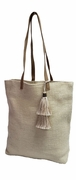 Jute Handbag Tote with Tassel
