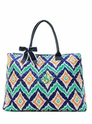 Large Quilted Tote Bag - Ikat|Monogram