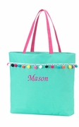 Monogram Embroidered Tote Bag|Pompom