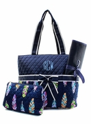 Monogram Feather Pattern Diaper Bag|Embroidered