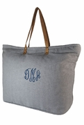 Monogram Herringbone Tote Bag