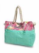 Monogram Palm Pattern Beach Tote Bag