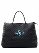 Monogram Quilted Travel Tote Bag - Grey or Black
