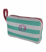 Monogram Stripe Accessory Pouch|Personalized
