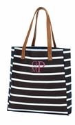 Monogram Striped Tote Bag|Black White
