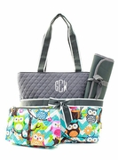 Monogram Stylish Owl Diaper Bag|Embroidered