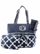 Monogrammed Quilted Diaper Bag|Quadrefoil