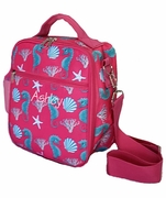 Personalized Cooler Lunch Tote Bag|Seahorse and Shells