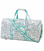 Personalized Floral Damask Duffel Bag