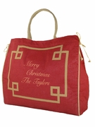 Personalized Holiday Jute Tote Bag