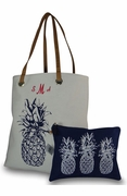 Personalized Pineapple Beach Tote with Accessory Bag