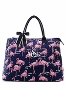 Personalized Quilted Tote Bag - Flamingo