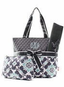 Quilted Diaper Bag with Embroidery|Vine Pattern