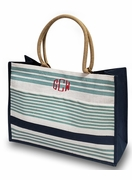 Stripe Summer Tote Bag|Monogrammed
