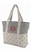 Striped Anchor Canvas Boat Totes|Monogram