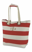 Striped Beach Tote|Embroidered