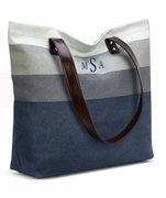 Striped Shoulder Tote|Monogrammed