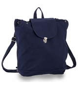 Trendy Blue Cotton Canvas Backpack