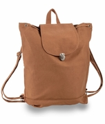 Trendy Brown Cotton Canvas Backpack