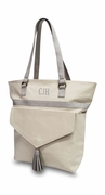 Trendy Canvas Tote with Tassel|Personalized|Gray or Blush