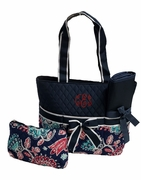 Trendy Quilted Diaper Bag|Embroidered