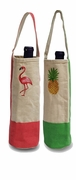 Wine Bottle Tote - Flamingo or Pineapple